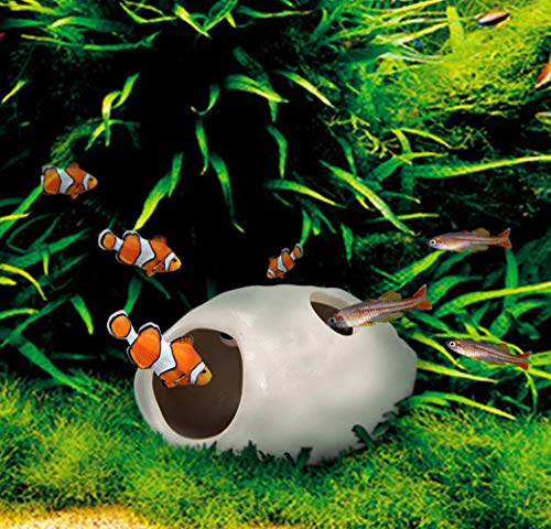 WSgift 2 Pack Safe Bone White Ceramic Aquarium Decorations Small Skull Stackable Fish Tank Decor...
