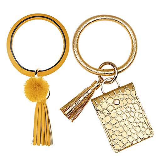 GOTONE 2 STÜCKE Schlüsselbund Armbänder Armband Armband Schlüsselbund Taschenkreditkarteninhaber Leder Geldbörse Quaste Armreif Schlüsselring für Frauen (2 Stil)