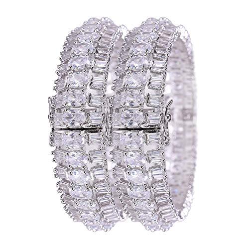 Ratnavali Jewels CZ Zirkonia Silber Ton Diamant Bollywood Hochzeit Openable Armreifen Kada Schmuck Frauen