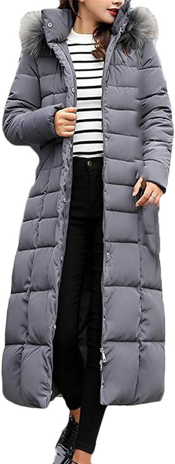 Cromoncent Womens Hooded Fashion Fleece Belt Quilted Button Down Jacket Parka Coat