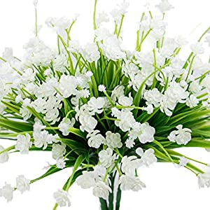 Facibom 4 pcs Artificial Flowers Fake Outdoor Faux Plants Greenery Daffodils White Shrubs Plastic Bushes Indoor