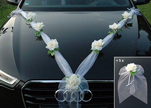 Autoschmuck Organza M + Schleife Auto Schmuck Braut Paar Rose Deko Dekoration Hochzeit Car Auto Wedding Deko Ratan Girlande PKW … (Ecru Weiß)