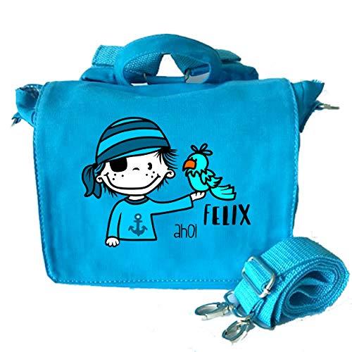 2in1 Kindergartenrucksack mit Namen personalisiert | Kindergartentasche inkl. Namensdruck | Kinderrucksack & Kindertasche in Einem | Rucksack Kinder Jungen Mädchen | Motiv Pirat & Vogel