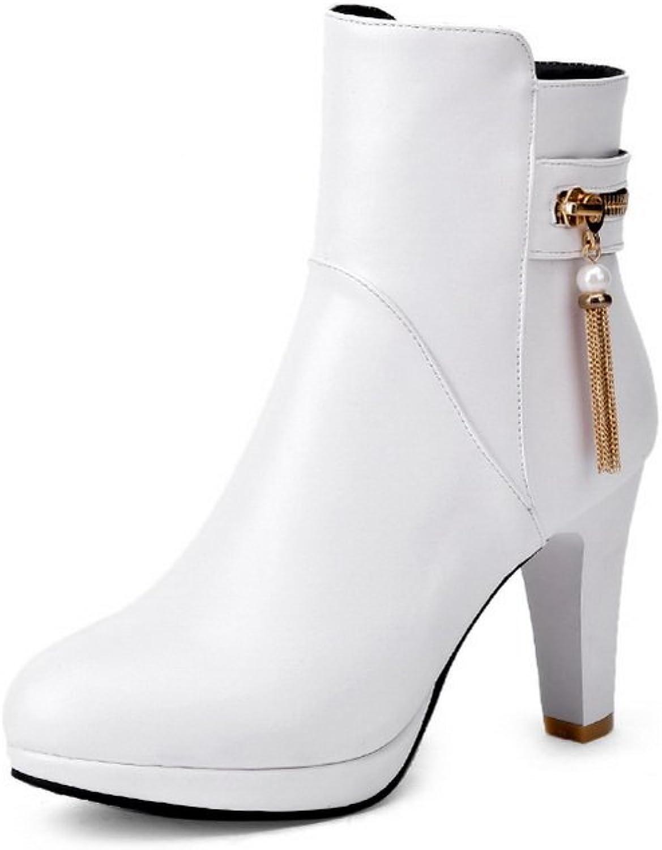 BalaMasa Ladies Tassels Bead Zipper Imitated Leather Boots