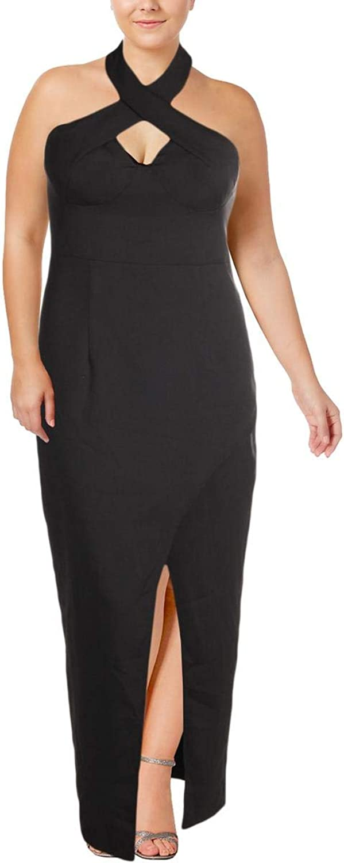 Bariano Womens Thigh Slit Credver Evening Dress