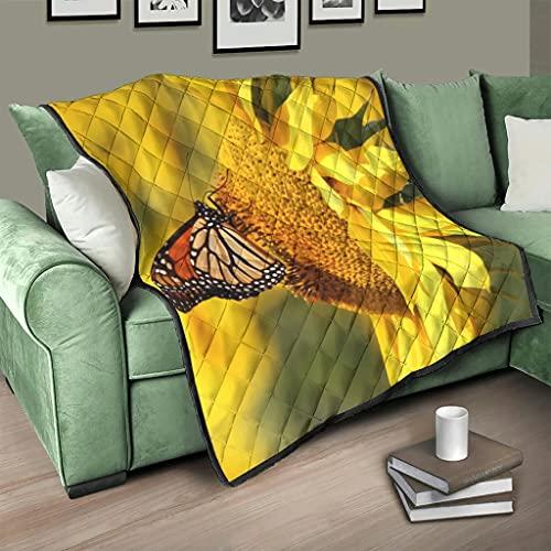 Flowerhome Colcha con diseño de girasol y mariposas, para sofá o cama, para adultos y niños, color blanco, 230 x 280 cm