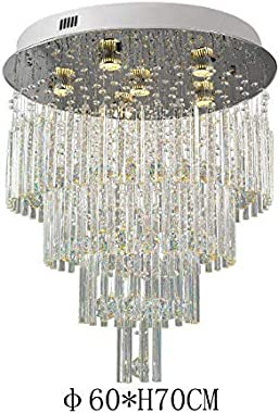 MAYL Modern Luxurious Round Multilayer Crystal Raindrop Chandelier for Dining Room Living Room