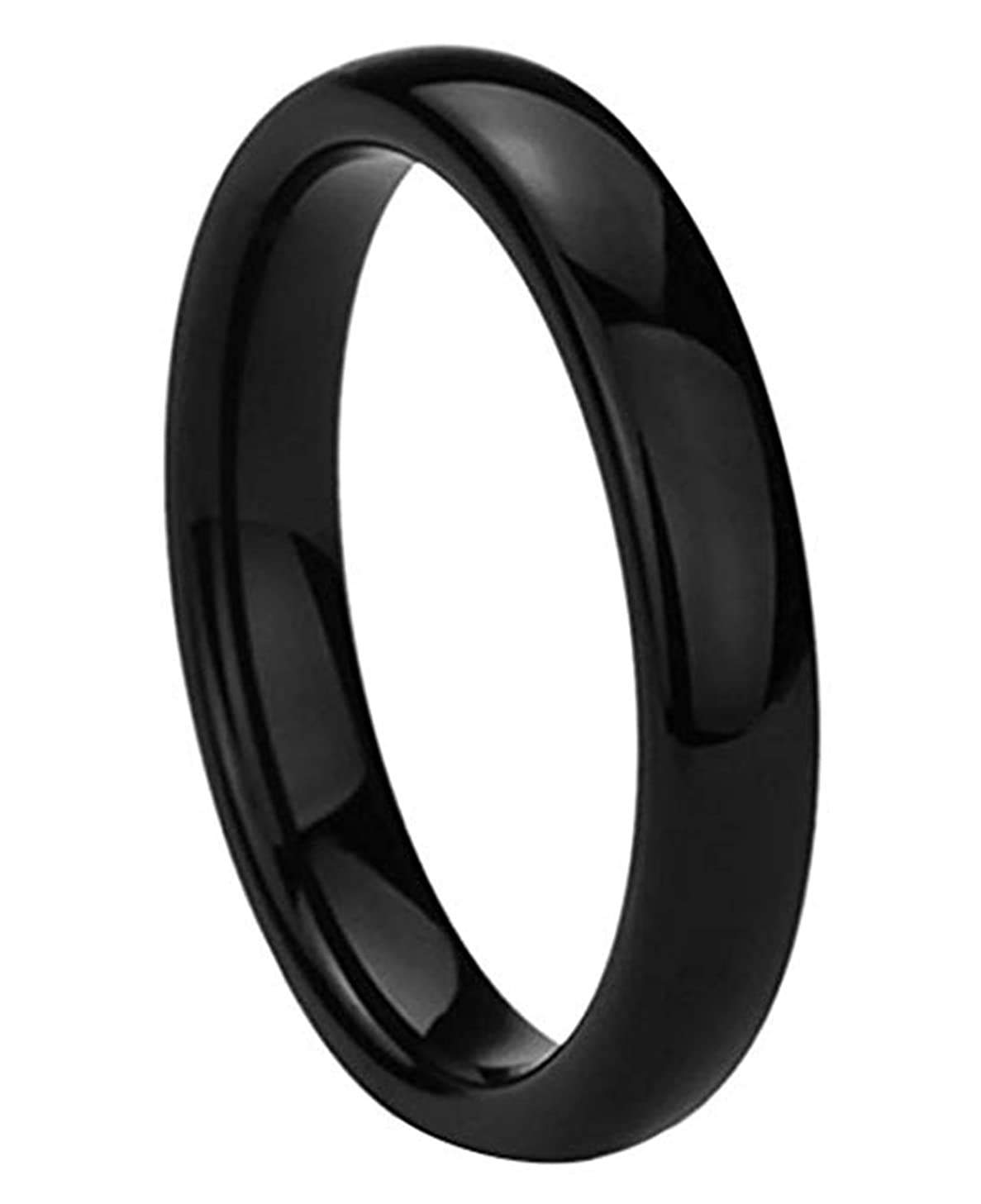Greendou Fashion Jewelry Stainless Steel Rings Black High Polished Classy Domed Comfort Fit Wedding Bands (9)