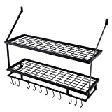 KES 30-Inch Kitchen Pot Rack - Mounted Hanging Rack for Kitchen Storage and Organization- Matte Black 2-Tier Wall Shelf for Pots and Pans with 12 Hooks - KUR215S75B-BK
