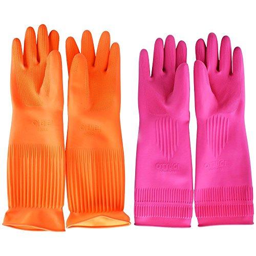 Top819Trade Putz-Handschuhe; wiederverwendbare, lange Gummi-Handschuhe für Küche, Haushalt, Geschirrspülen. Pink&orange