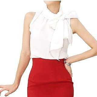 Silk Bow Collar Sleeveless Shirt Blouse for Womens