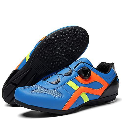 AGYE Calzado de Ciclismo Hombre, Zapatillas De Ciclismo De Carretera para Hombre Zapatillas De Bicicleta Transpirables Y Cómodas Sin Bloqueo Zapatillas De Bicicleta para Montar,Blue-44