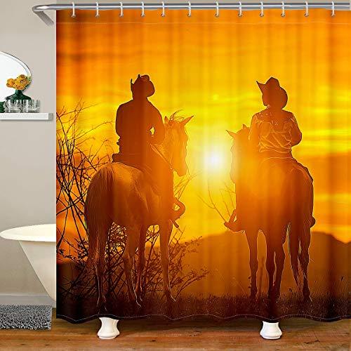 Loussiesd Western Cowboy Duschvorhang Textil Jugendliche Wilder Westen Themed Cowboy Dusche Vorhang Retro Cowboy Stil Dekor Badezimmer Duschvorhang 180x180cm Braun Wasserdichtes