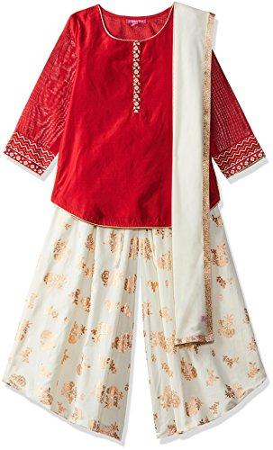 Biba Girls Straight Salwar Suit Set (KW3023_RED_5)