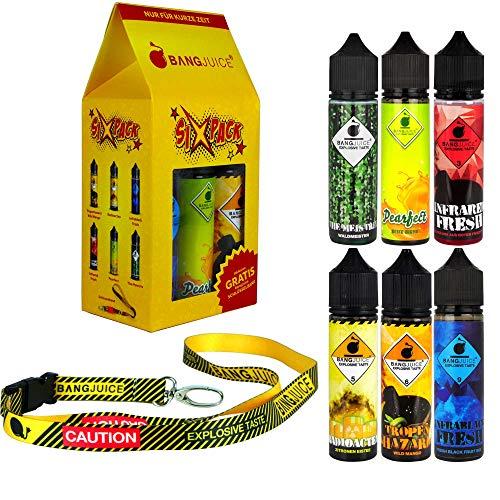 Bang Juice SIXPACK - 6 x Aroma mit stylischem Schlüsselband, Shake-and-Vape zum Mischen mit Base Liquid für e-Liquid, 0.0 mg Nikotin