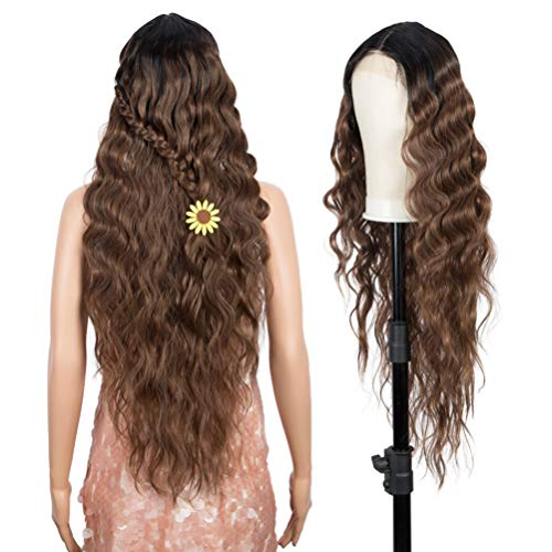 """Style Icon 30"""" Lace Front Wigs Middle Part Synthetic Wigs Simulated Scalp High Temperature Fiber Heat Resistant Wig (30 INCHES, TT1B/30)"""