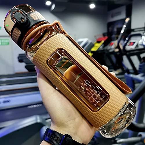 Botellas de agua de deporte portátil Gimnasio anti-caída a prueba de fugas gran capacidad Fitness Kettle Tritan botella de bebida plástica libre de BPA - a1,350ml marrón