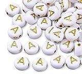 Cheriswelry 360 cuentas de alfabeto de acrílico de oro blanco de 7 mm, disco redondo plano, letra A espaciador, cuentas para joyería, manualidades