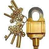 Robin Exports Brass 6 Key Square Trick Puzzle Padlock - (3 Keys x 2)