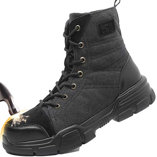 SUADEX Steel Toe Boots for Men Military Work Boots Indestructible Work Shoes for Women Athletic Safety Shoes Composite Toe Black 5.5-6 Women