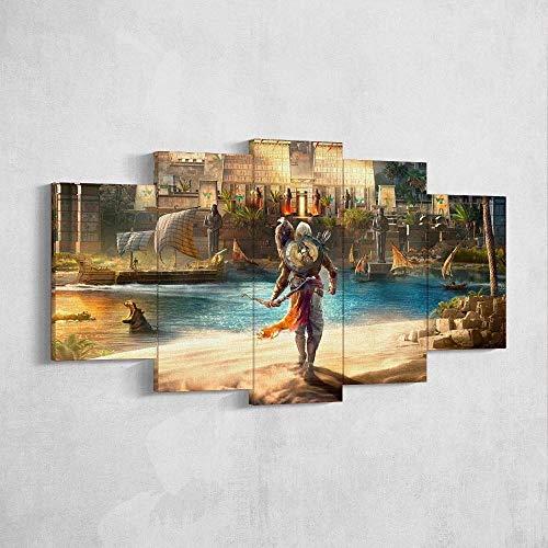 Gmoope Juego Assassin'S Creed Origins 5 Piezas De Murales, Cuadros De Lienzo, Pinturas Al Óleo, Impresiones, Decoración De Lienzo, Arte De La Pared del Hogar