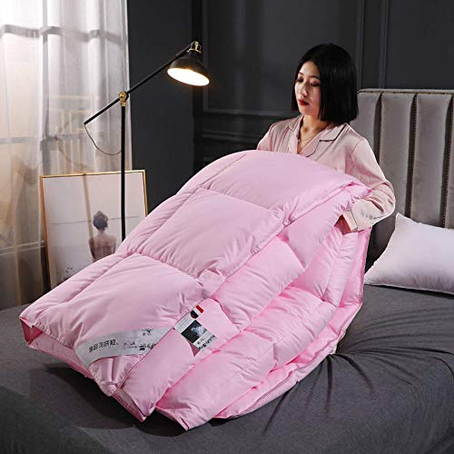 CHOU DAN Duvet Storage,Duvet 95 White Goose Down Spring And Autumn Quilt Thickened Warm Winter Quilt Single Double Duck Down-180 * 220cm 3000g_feather Jade【Send Quilt Cover + Leather Bag】