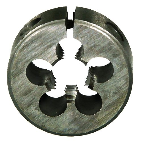 Drillco 3000E Series High-Speed Steel Adjustable Round Split Threading Die, Uncoated (Bright) Finish, 1