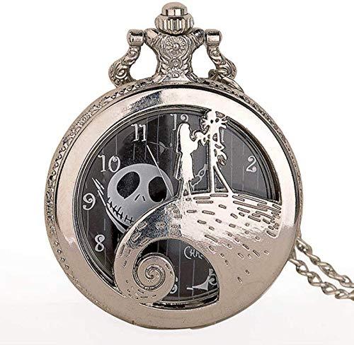 Mnjin Silber/Schwarz/Bronze Weihnachtstasche Film ansehen Kinder Anhänger Halskette Uhr Silber