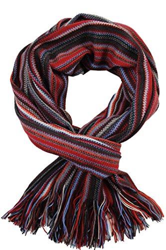 Rotfuchs Foulard Foulard Foulard en maille Foulard Raschel à rayures 100% laine Fabriqué en Allemagne (rouge)