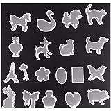 ZPZZPY 19 Unids/Set Agujeros Animal Bow Heart Key Waterdrop Silicona Botella de PerfumeMolde Molde Resina Fabricación de Joyas DIY Craft