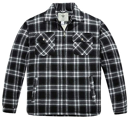 WenVen Men's Full Zip Flannel Jacket Sherpa Lined Long Sleeve Soft Fabric(Black,L