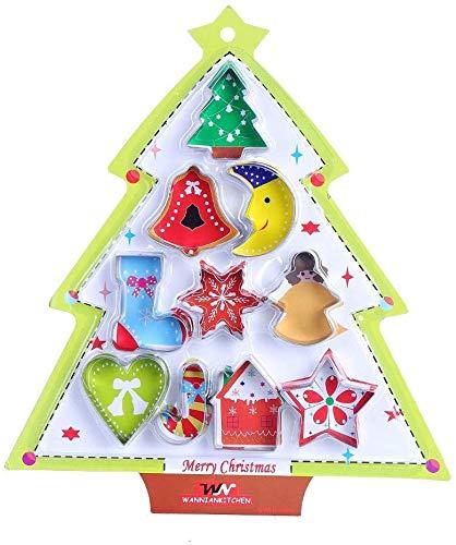 LOKIPA クッキー型 クリスマス 10個セット ステンレス製 クッキーカッター 型抜き 製菓道具 クリスマスケーキギフト 手作り