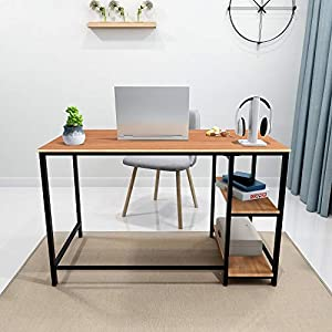 Writing Computer Desk Simple Study Desk Notebook Table for Home Office Metal Frame Easy Assembly with 2 Storage Shelves (Black/Teak) from HOMERECOMMEND