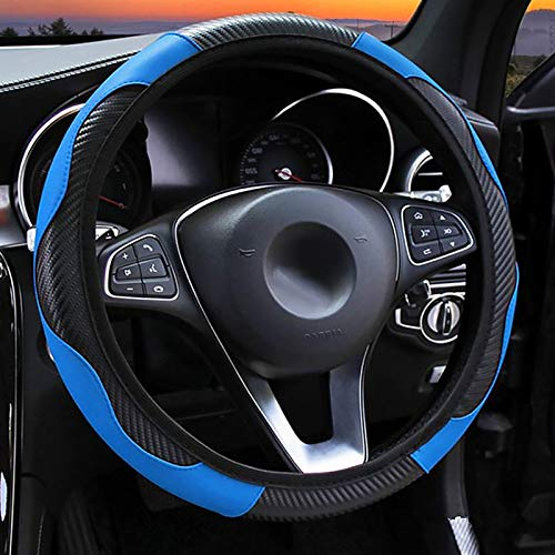 LMYDIDO Funda de cuero para volante de coche, antideslizante, transpirable, de fibra de carbono, banda elástica deportiva sin anillo interior, tamaño universal, 37-39 cm (azul)
