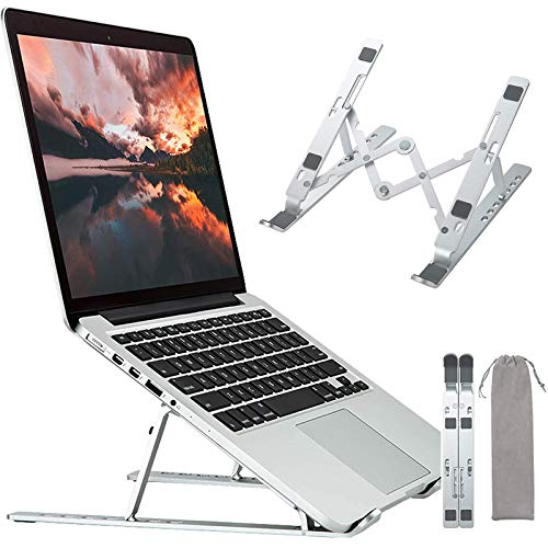 Adjustable Portable Laptop Stand, KOOPAO Foldable Laptop Stand for Desk, Small Travel Ergonoric Computer Aluminum Cooling Laptop Riser Stand Compatible with MacBook Air Pro Dell HP Lenovo 9-17 Inch