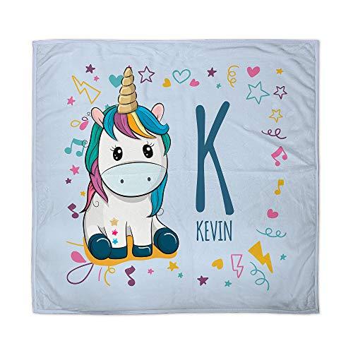 Manta Unicornio para Bebe Personalizada con Nombre. Regalo Bebé Recién Nacido. Tejido Polar. Varios Diseños a Elegir. Unicornio Azul