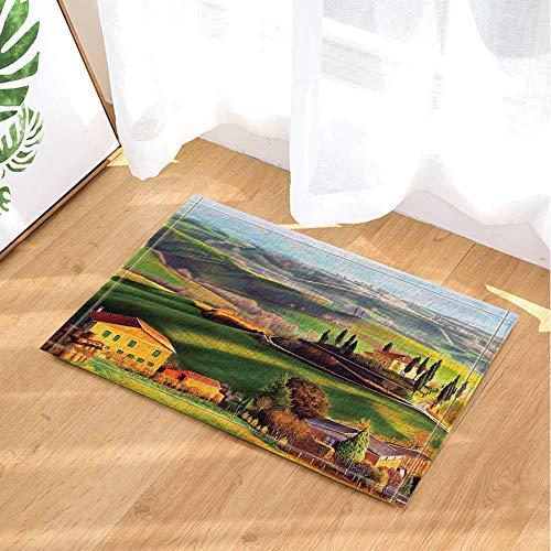 YYAANNGG Retro Haus Badteppich rutschfeste Türmatte Wohnzimmer Kinderteppich Badezimmerzubehör 50x80cm des Alten Dorfs des Ölgemäldes