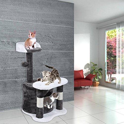 U-Kiss Kratzbaum, Mehrstufigers Kratzbaum mit Großer Aussichtsplattform, Stabiler Kletterbaum mit Sisal-Kratzstangen, Katzenkratzbaum Katzenmöbel (65cm grau)
