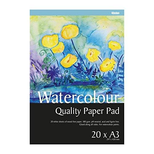 Panduro Hobby Aquarellpapier – A3 x 20 Blatt weiß – allseitig geleimt - Weiß kaltgepresst Papier für Aquarell - 180 g/m², pH-neutral und säurefrei