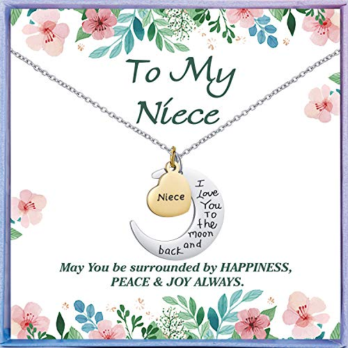 NEWNOVE Niece Gifts from Auntie I Love You to The Moon and Back Niece Necklace Best Christmas Birthday Gifts for Niece