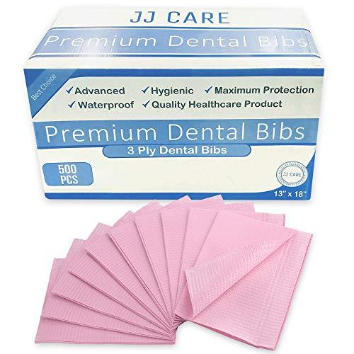 JJ Care Premium Dental Bibs, Disposable 3 Ply Dental Patient Bib, Waterproof Tattoo Piercing bibs, Adult Bibs, Dental Bib,Tray Cover, Waterproof Napkins & Dental Napkin (13'' x 18'') Pink, Pack of 500