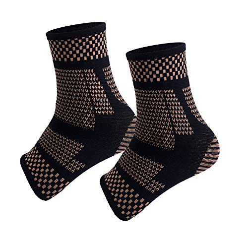 Copper Infused Ankle Braces Foot Support Compression Sleeves for Men and Women Ankle Stabilizer for Fasciitis Sprained Sports Protection 1 Pair