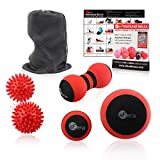 sFera Massage Ball Set of 5 for Trigger Point Therapy, Myofascial Release, Deep Tissue | Includes: Small and Large Firm Foam Roller Balls, 2 Spiky Balls, Peanut Roller, Mesh Bag, Manual