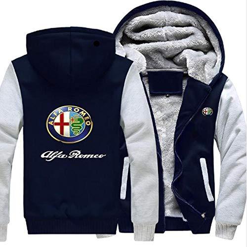 FAIBOO Herren Hoodie Alfa Romeo Print Sportswear Stitching Langarm Winter Cardigan Kapuze Dickes Warm Sweatshirt Teen Geschenk C-XXL