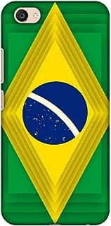 AMZER Slim Fit Handcrafted Designer Printed Snap On Hard Shell Case Back Cover for Vivo V5 Plus - Brazil Flag- Ombre Shapes HD Color, Ultra Light Back Case