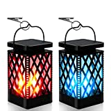 Solar Lanterns-Sunklly Hanging solar lights color changing & fixed 9 Modes Waterproof Hanging Lanterns Outdoor Dancing Lights Flickering Flame Lanterns Decoration for Garden Patio Yard Pathway(2 PACK)