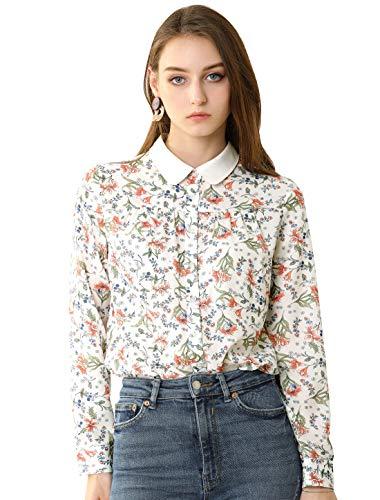 Allegra K Damen Lagnarm Bubikragen Button Blumen Shirt Bluse Weiß S