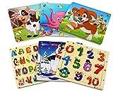 StillCool Puzzles de Madera 20 Piezas, Coloridos Rompecabezas de Madera para niños, Rompecabezas de Aprendizaje y educativos para niños y niñas de 3-5 años (6 Puzzles)