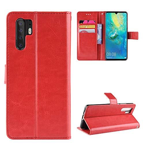 Snow Color [Huawei P30 Pro Hülle, Premium Leder Tasche Flip Wallet Case [Standfunktion] [Kartenfächern] PU-Leder Schutzhülle Brieftasche Handyhülle für Huawei P30Pro - COBYU030570 Rot