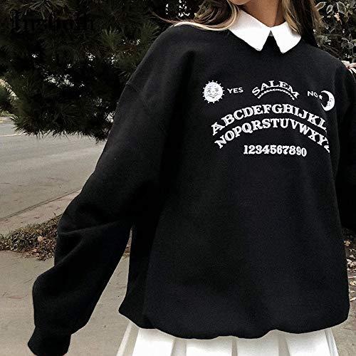 Hoodies Surdimensionnés Grunge Noir Gothique Harajuku Streetwear Chic Lettre Imprimer Hoodies Femmes Automne À Manches Longues Hoodies M Noir